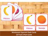 Spanish Flash Cards // Fruit // 16 Cards (Montessori)