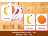 Spanish Flash Cards // Fruit // 16 Cards (Montessori)