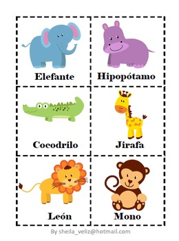 spanish flash cards jungle and tropical animals by sheila veliz. Black Bedroom Furniture Sets. Home Design Ideas