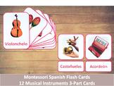 Spanish Flash Cards // Musical Instruments // 12 Cards (Montessori)