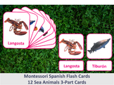Spanish Flash Cards // Sea Animals // 12 Cards (Montessori)