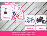 Spanish Flash Cards // Transportation // 12 Cards (Montessori)