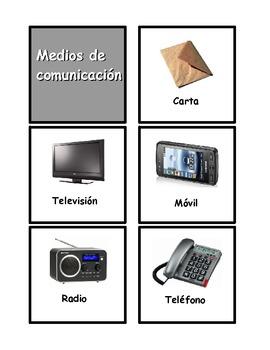 "Spanish Flash Cards on the topic of mass media ""Los medios de comunicación"""