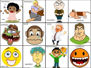 """Spanish Flashcards """"MOODS"""" - Use for Charades or Matching Game!"""
