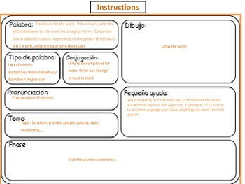 Spanish Flashcards Template