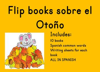 Spanish Flip books del Otono y palabras de alto uso Spanis
