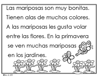 Spanish Fluency Practice- Spring themed passages for early readers