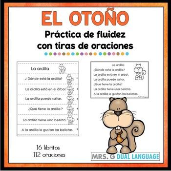 Spanish reading fluency practice strips. Tiras de oraciones del otoño