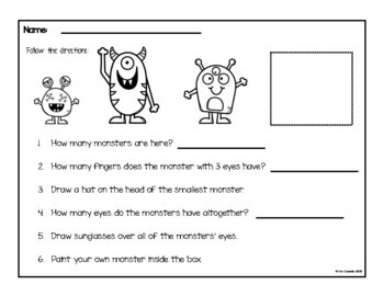 Spanish Follow Directions Numbers (Monster Theme)