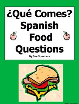 Spanish Food 12 Question Responses and Image IDs - La Comida