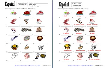Spanish Food Bundle of 4 Vocabulary IDs Worksheets