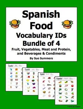 Spanish Food Bundle of 4 Vocabulary IDs Worksheets