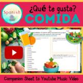 Spanish Food Comida Companion Worksheet to Music Video