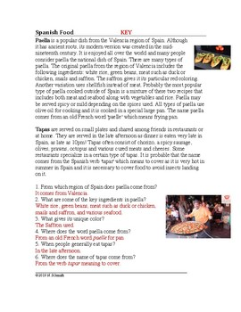 Food from Spain Cultural Reading: Tapas and Paella  (English Version)
