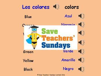Spanish Food, Drink and Colors Unit (6 lessons) - All lessons have AUDIO clips