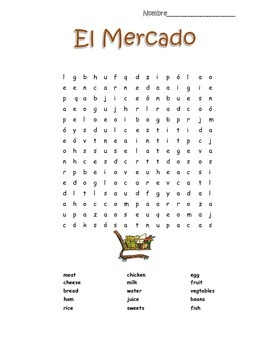 Spanish Food El Mercado Word Search Puzzle Vocabulary Builder