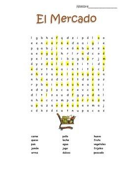 Spanish Food El Mercado Word Search Puzzle Vocabulary Builder