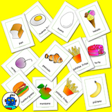 Spanish Food Flash Cards. Apple, banana, pear, pear, cake,