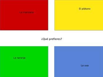 Spanish Food Vocabulary Four Corners Formative