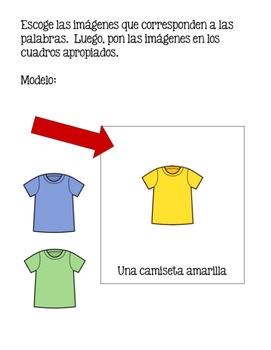 Spanish Clothing Google Drive Activity