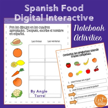 Spanish Food La comida Google Drive Activities