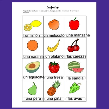 Spanish Food La comida Interactive Notebook and Google Drive Activities