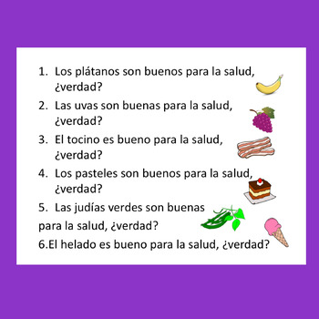 Spanish Food La comida Paired Speaking Activities