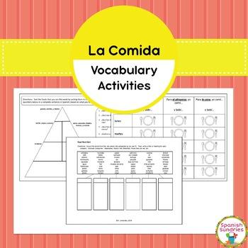 Spanish Food (La Comida) Vocabulary Activities