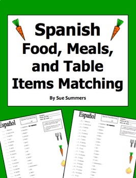 Spanish Food, Meals, and Table Matching Worksheet or Quiz - La Comida
