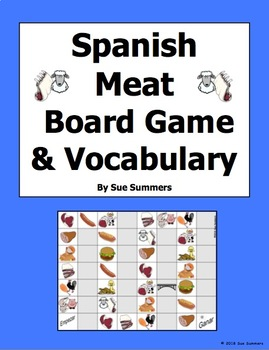 Spanish Food - Meat Board Game and Vocabulary - La Carne