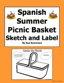 Spanish Food Picnic Sketch and Label - Cesta de Picnic