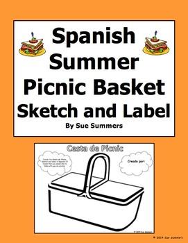 Spanish Food Picnic Sketch and Label - Cesta de Picnic