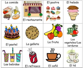 Spanish Food/Restaurant Flash Cards