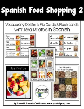 Spanish Food Shopping 2 Vocabulary Posters & Flashcards with Real Photos