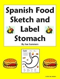 Spanish Food Sketch and Label Full Stomach Vocabulary Activity