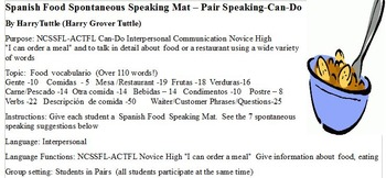 Spanish Food Speaking Mat Pair Can Do