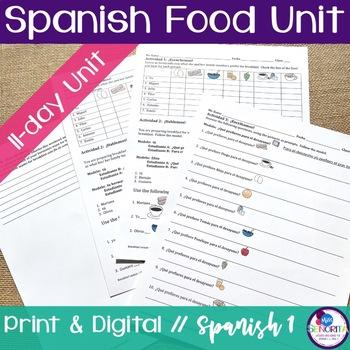 Spanish Food Unit Bundle - with preferir, querer, and pedir