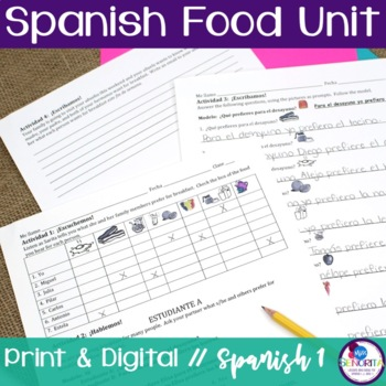 Spanish Food Unit Bundle - with preferir, querer, and pedir