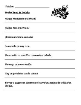 Spanish Food Vocabulary