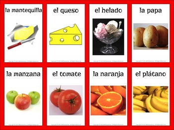 Spanish Food Vocabulary Flashcards