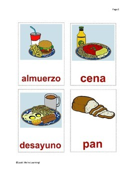 Spanish Vocabulary Flashcards - Fun with Food!
