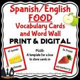 Spanish Food Vocabulary Flashcards and Word Wall