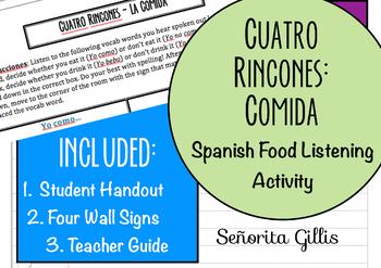 Spanish Food Vocabulary Four Corners Game & Activity