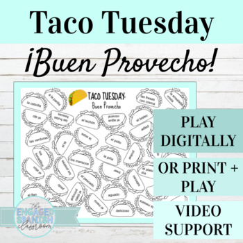 "Spanish Food Vocabulary Game, Taco Tuesday ""Buen Provecho"""