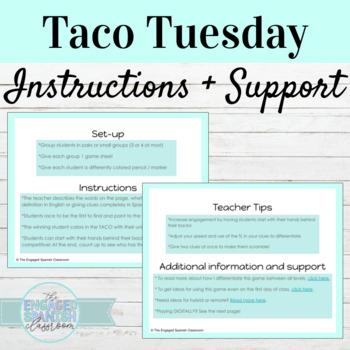 Spanish Food Vocabulary Taco Tuesday Game