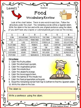 Spanish Food Vocabulary Review with Idiom:  Levels 1 and 2