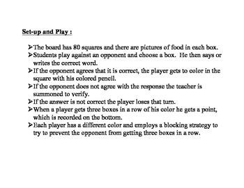 Spanish Food Vocabulary Speaking/Writing  Activity (Naufragio)