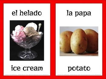 Spanish Food Vocabulary Word Wall