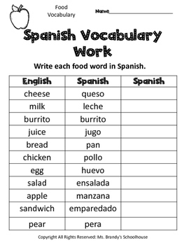 Spanish Food Vocabulary Worksheets by Ms Brandys Schoolhouse | TpT