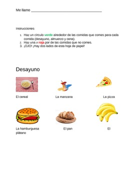 Spanish Food Worksheet for 1st-5th Grades